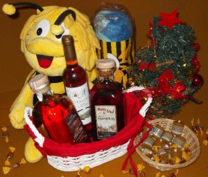 Cesta bebidas miel Navidad www.beegardenmalaga.com